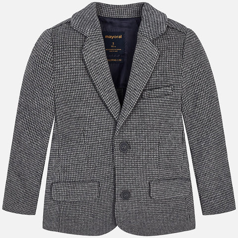 Mayoral 4474 Houndstooth 2 Button Sportcoat, Grey