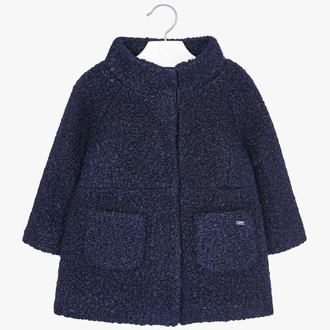 Mayoral 4498 Girls A-line Boucle Coat - Navy
