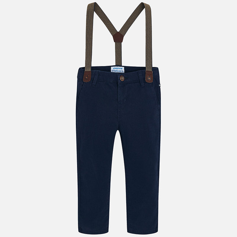 4518 Mayoral Boys Lined Chino Pants w/Suspenders, Navy