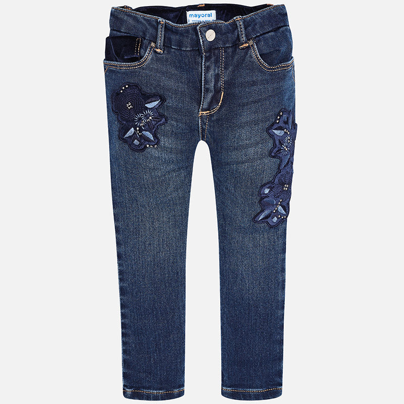 4546 Mayoral dark wash girls skinny jeans with velvet accents and floral appliques
