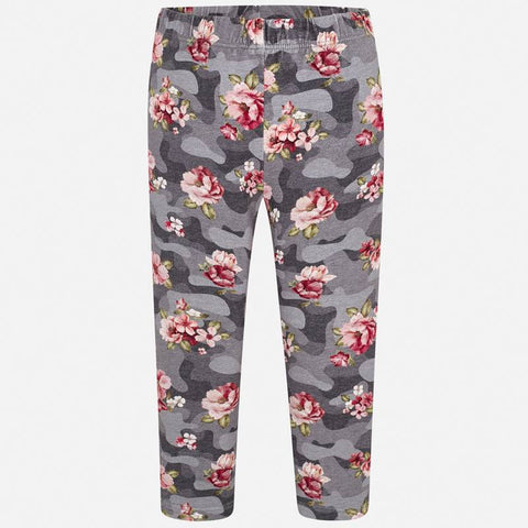 Mayoral 4706 Grey Leggings With Pink Floral Print