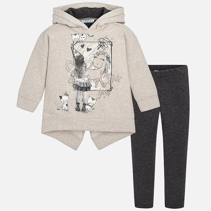Mayoral 4716 girls sweatshirt and leggings set, magic is in you, unicorn and cat print