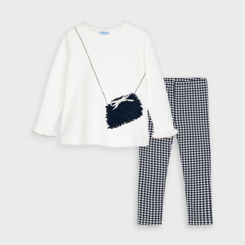 4723 Chiffon Purse Top & Houndstooth Legging Set