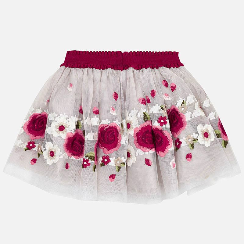 4903 Mayoral Girls Red Tulle Skirt w/ Floral Embroidery