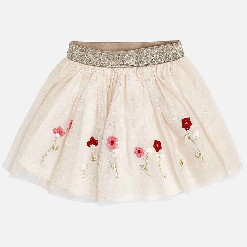 gold Sparkle tutu skirt with floral embroider, holiday, mayoral 4904