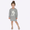 Little girls knit dress for winter, grey and white, LOVE and crystal accents, sweater dress Mayoral 4935