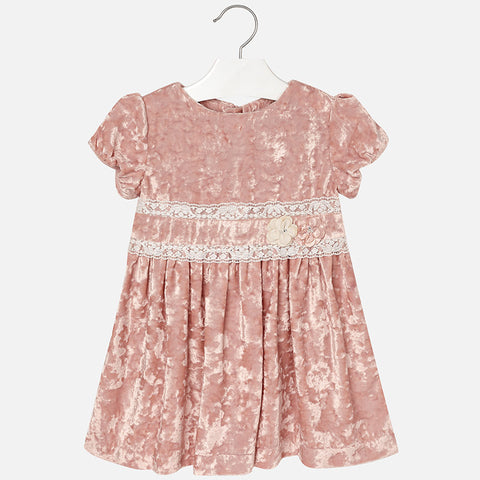 Mayoral 4938 Girls Crushed Velvet Dress - Soft Blush Pink
