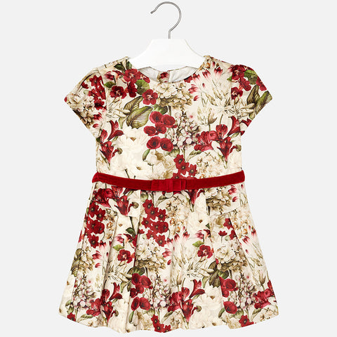 Mayoral 4948 Velveteen Floral Dress w/Belt