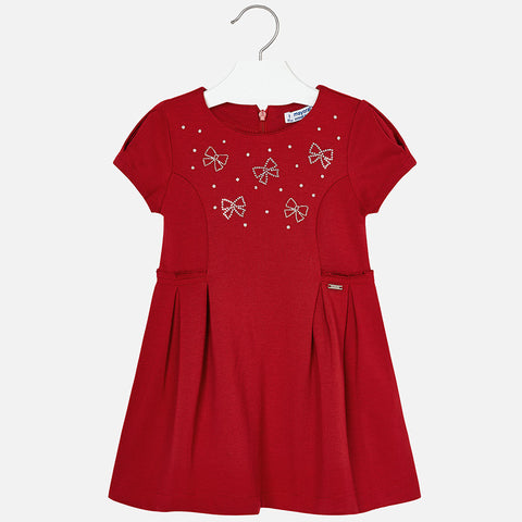 Mayoral 4954 Pleated Dress w/Crystal Bow Details, S/S, Red