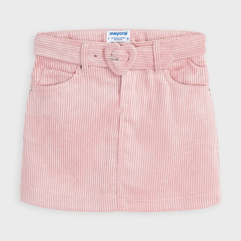 4959 Mayoral Corduroy Skirt, Hearts, Blush Pink