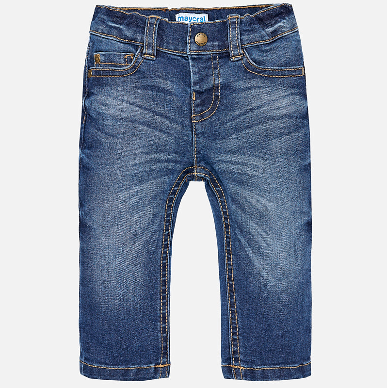 boys classic 5 pocket denim jeans, medium wash, slim fit