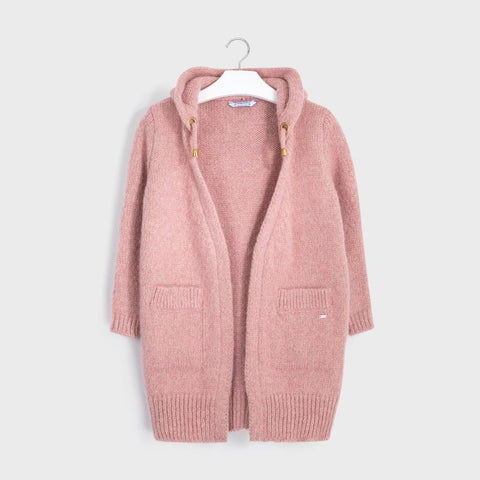 Mayoral 7334 Long Hooded Knit Cardigan, Metallic Blush Pink