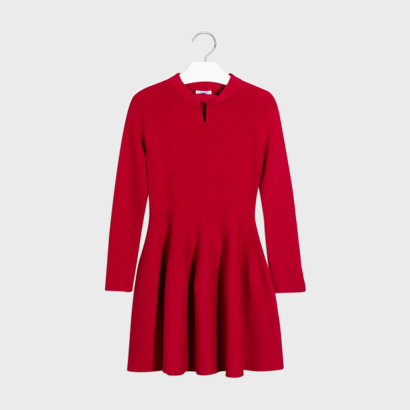 7963 Mayoral Twist Viscose Jersey Dress, Carmine Red