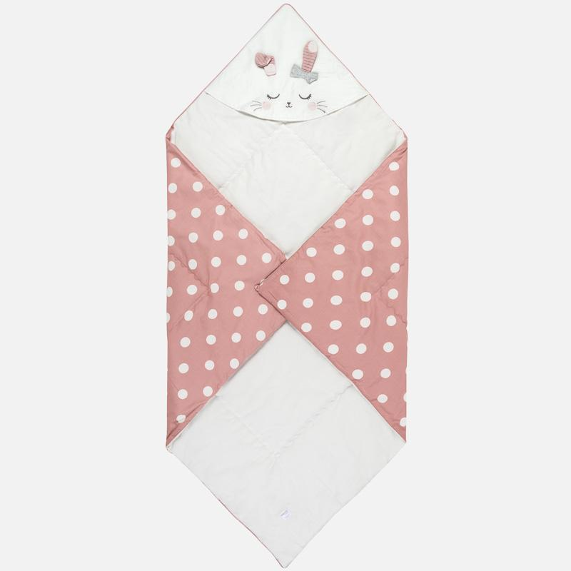 cotton baby blanket with hood, bunny face, pink polka dot, mayoral 9025