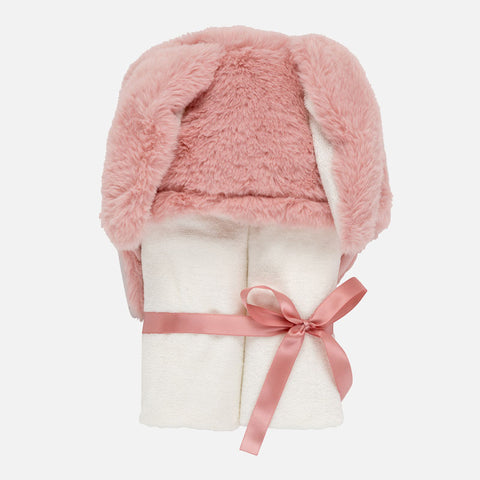 9058 Mayoral Faux Fur Hooded Towel Tan Bunny