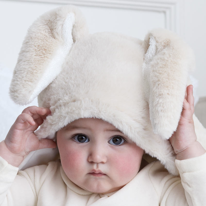 9058 mayoral faux fur hooded towel tan bunny, appliqued ear motifs