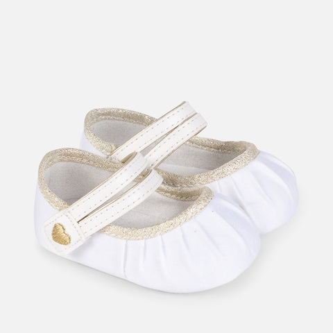 9069 Mayoral Girls Ribbed Sparkle Mary Janes, Gold & White