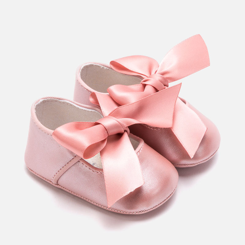 9214 Mayoral Baby Girl Satin Mary Jane Shoes, Pink