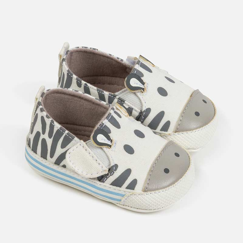baby crib shoes, mayoral 9273, zebra canvas slip on shoes