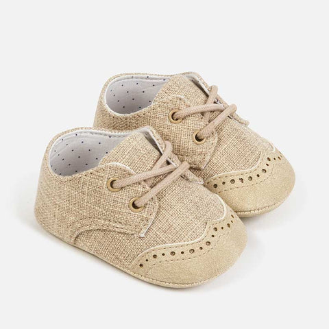 9274 Mayoral Baby Boys or Unisex Soft Soled Lace Shoes, Tan Linen