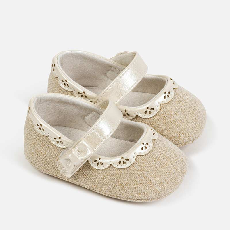 9283 Mayoral Baby Girls Soft Soled Shoes, Mary Janes, Linen