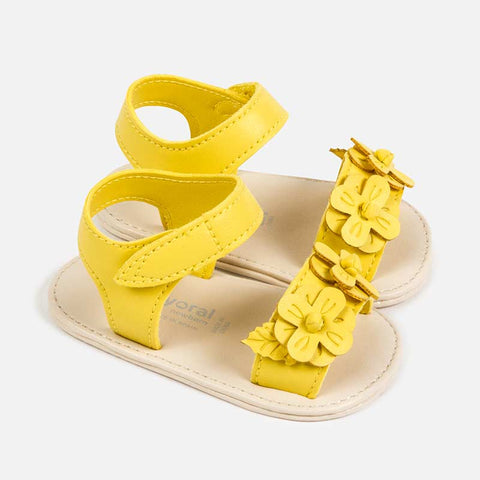 9287 Mayoral Baby Girls Leatherette Flower Summer Sandals, Sunshine Yellow