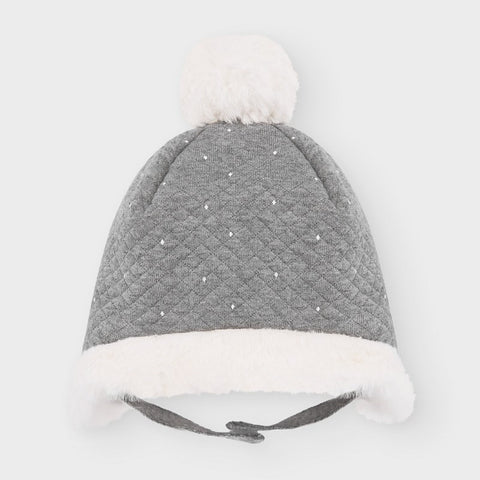 9319 Mayoral Faux fur Quilted Pompom Beanie Hat, Unisex - Grey