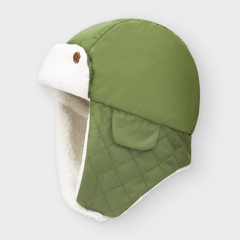 9321 Mayoral Baby Quilted Aviator Hat - Moss Green, Unisex