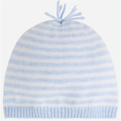 Baby Boy Knit Beanie, Mayoral Spain - Baby Blue Stripe