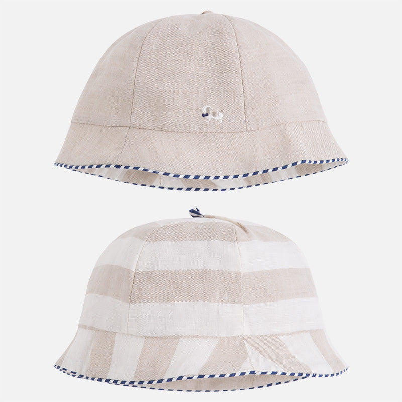 Infant Bucket Hat, Cotton Linen, Tan Bucket Hat, Reversible, Mayoral 9730