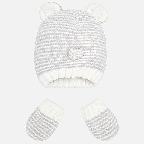 9902 Mayoral Baby Knit Beanie w/Ears & Nose, & Mittens, Unisex, Grey Stripes