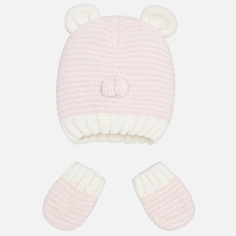 baby newborn beanie hat with ears and mittens, pink stripe knit