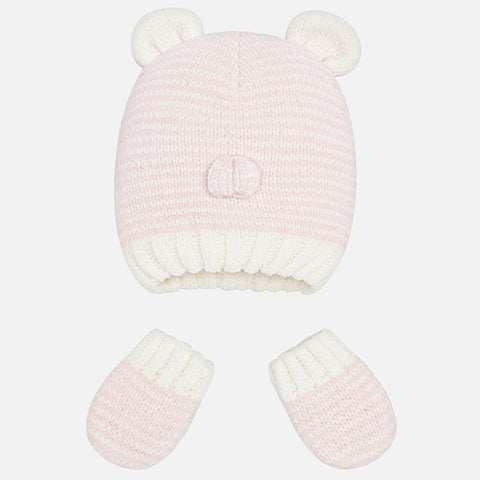 9902 Mayoral Baby Knit Beanie w/Ears & Nose, & Mittens, Baby Girl Pink Stripes