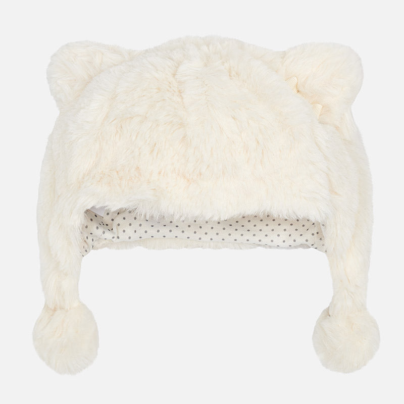 Baby faux fur hat in white.  Baby hat with hears and pompoms