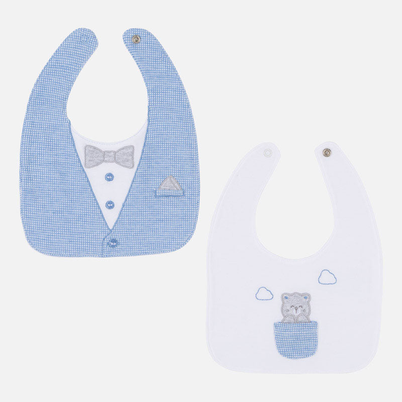 mayoral little boys snap button bibs, vest/bowtie & pocket bear print