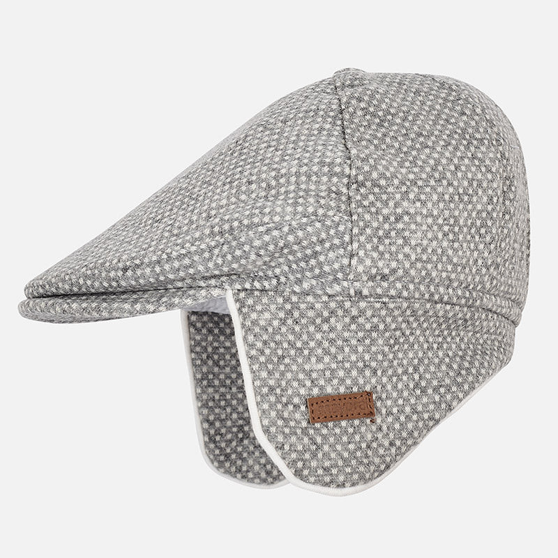 baby trapper or paperboy hat, winter knit, grey with ear flaps