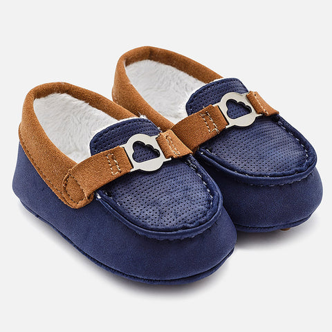 Mayoral 9919 Baby Boy Moccasins, Faux Fur Lined, Navy