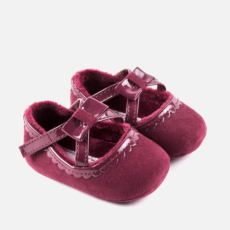 Baby girls mary jane shoes, ultrasuede and leatherette, plum, heart bottom, mayoral 9932