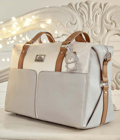 19864 Mayoral Diaper Bag, Opalescent Ivory & Soft Grey w/Leatherette Details