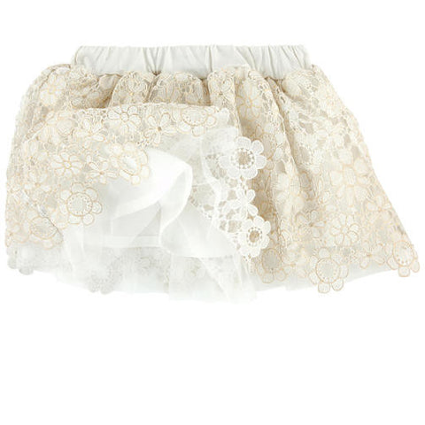 Mayoral, 3902, Guipure Lace Skirt Ivory/Gold