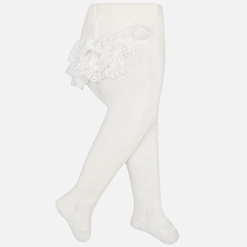 9887 Baby Girls Knit Footed Tights, Ruffled Lace Bum Bum, White