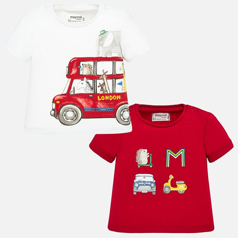 1037 Mayoral 2 PC Set of Graphic T-Shirts, Double Decker Bus & Animals