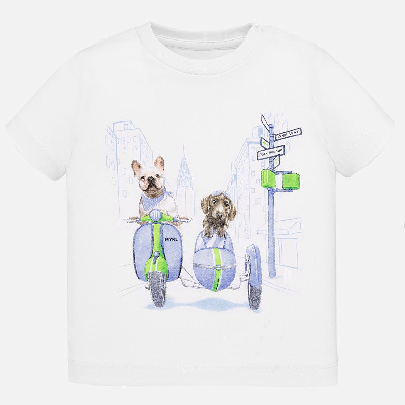 1043 Mayoral Baby Toddler Graphic Print T-Shirt, Frenchie Puppy Side Car