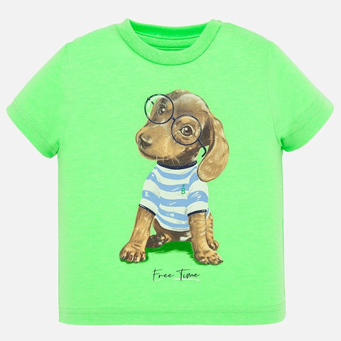 1046 Mayoral Baby Toddler Graphic Print T-Shirt, Puppy Apple Green