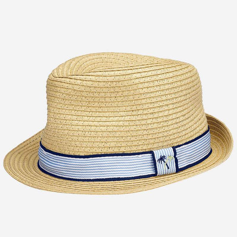 10814 Mayoral Boys & Girls Raffia Fedora Sun Hat, Tan Palm Trees