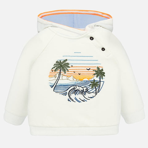 1452 Mayoral Boys Hooded Palm Tree Print Sweatshirt, Mango