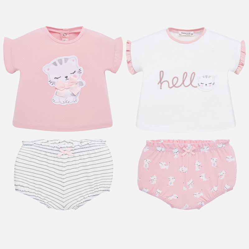 1651 Mayoral Baby Girls 2 Outfit T-Shirt & Shorts Sets, Pink Kitty Cat