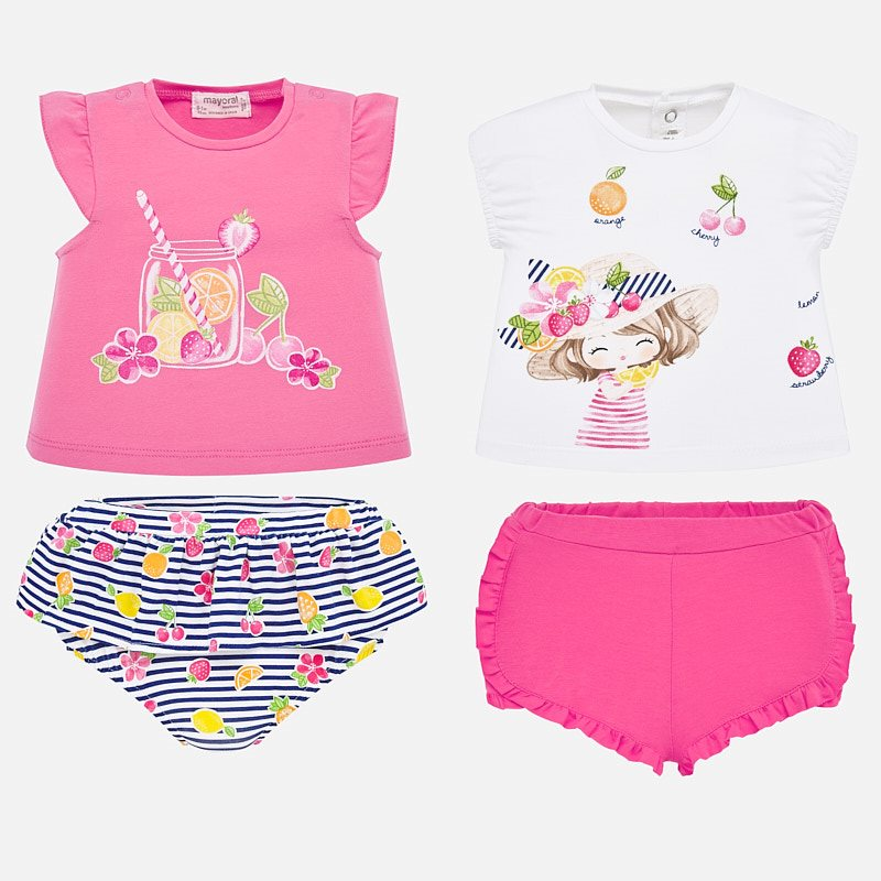 1652 Mayoral Baby Girls 2 Outfit T-Shirt & Shorts Sets, Fresh Fruit Summer