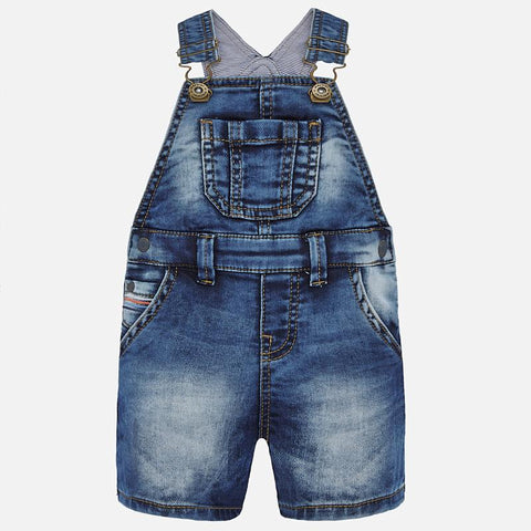1688 Mayoral Boys Denim Overall Shorts, Medium Deep Wash
