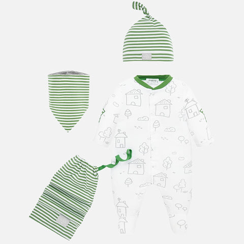 1778 Mayoral Gender Neutral Newborn Baby Footie 4 PC Gift Set, Green Home